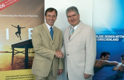 Dr. Martin Buck, director of travel and logistics at Messe Berlin's Competence Center, with Panagiotis Skordas, director of the Hellenic Tourism Organization in Germany.