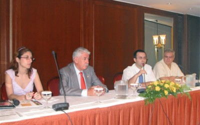 Katerina Agorogianni, cultural section of the Mexican Embassy; Alejandro Diaz Perez Duarte, Mexican Ambassador to Greece; Maximos Tzanos, vice president of PASENT; and Thanos Vasilopoulos, president of PASENT.