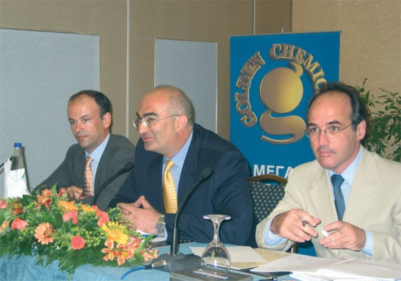 Yannis Retsos, secretay general of the Attica Hoteliers' Association; Georgos Tsakiris, president of the association; and Aris Ikkos of JBR Hellas.
