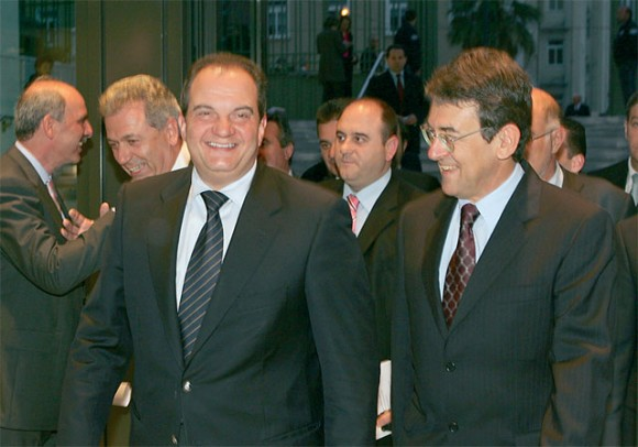 Prime Minister Konstantinos Karamanlis and Stavros Andreadis, president of the Association of Greek Tourism Enterprises.