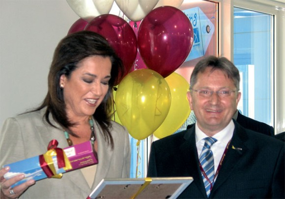 Athens Mayor Dora Bakoyannis and Dr. Andreas Bierwirth, Managing Director of Germanwings during the christening of the new Germanwings aircraft.