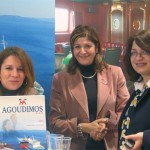 Mary Stylianelli (left), reservations and sales director for Agoudimos Lines promoted both the ferry line's domestic and international routes - Rafina to Andros-Tinos-Mykonos, and Greece to Italy to Albania - and the company's new Internet site, which includes on-line booking possibilities.