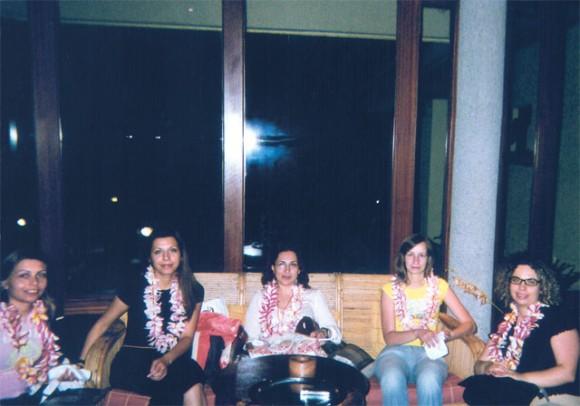 Dafni Koulaki, Natali Dimitriadou, Faidra Fotiadou, Anna Verouti, Nantia Bakapanni take a rest after roaming Seychelles.