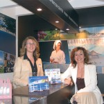 Irene Samara, leisure sales manager for the Porto Carras Grand Resort, and Ioanna Tzerachoglou, the resort's congress and incentive sales manager, at a new and up-market stand created by owner Technical Olympic Group of Companies. They said that next year the stand will be even bigger and better, as will the general presentation, as Chalkidiki will be the honored Panorama destination.