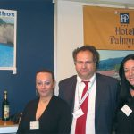 A number of hotels from Zakynthos Island decided to work together at this year's Panorama to promote their lodging units, and the island, on their own special stand. From left are Gina Margari, general manager of the Diana group of hotels; Nikos Dimopoulos, manager of Sunrise Hotel; and Katerina Margari, the brand development executive for the Diana hotel group.