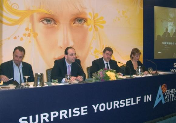 Haralambos Maniatis, general secretary of Attica Region Authority (third from left), explains new program.