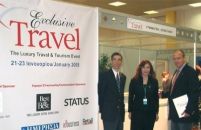 Alexis Caniaris, managing director of the fair's organizer, Europartners; Chrissa Karka, Exclusive Travel's welcome desk supervisor; and Chris Nicolaides, chairman of the fair's organizing committee.