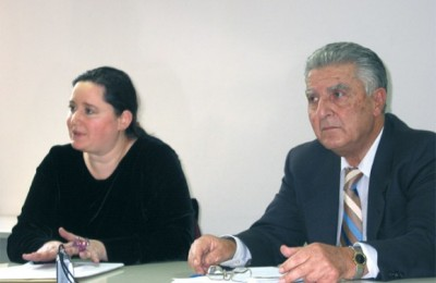 Maria Daskalantonaki, president of Tourism Research Institute and board member of Greece's biggest hotel chain, Grecotel, with Professor Panayiotis Pavlopoulos, head of research for the institute.