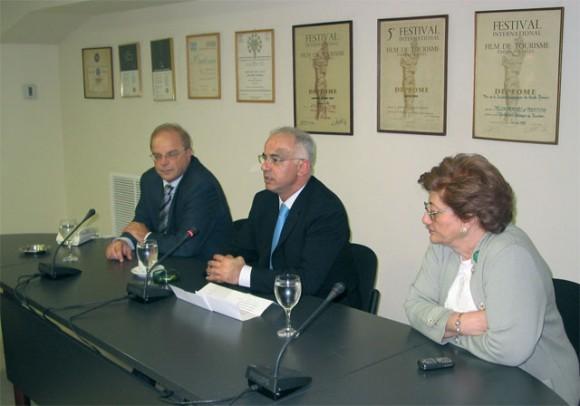 Hellenic Tourism Organization President Haris Kokkossis; Deputy Tourism Minister Anastassios Liaskos; and Esthir Vitali, the tourism organization's PR director.