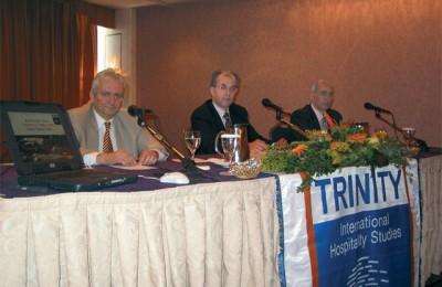 Markos Komninakis, director of studies for Trinity International Hospitality Studies with Maris Group's Evangelos Papadopoulos and Nikos Koundilakis.