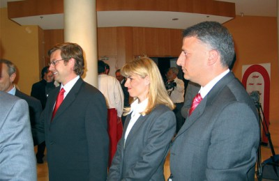 At a reception after presenting the company's