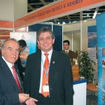 Two of the many Greek tourism professionals who managed to get some substantial work done during the fair included Amphitrion's chairman and CEO, Dinos Mitsiou, and Chandris Hotel Group's director of sales, Stavros Fillippelis.