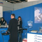 Aegean Airlines, with its ever-present roaming representative, Roula Saloutsi (right), set up its usual well-designed stand to promote its Greek domestic and European routes.