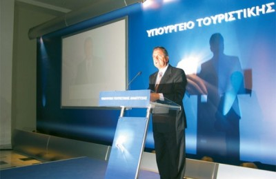 Tourism Minister Dimitris Avramopoulos in the ministry's tourism presentation room at Zappeio announces new tourism promotion campaign ideas.