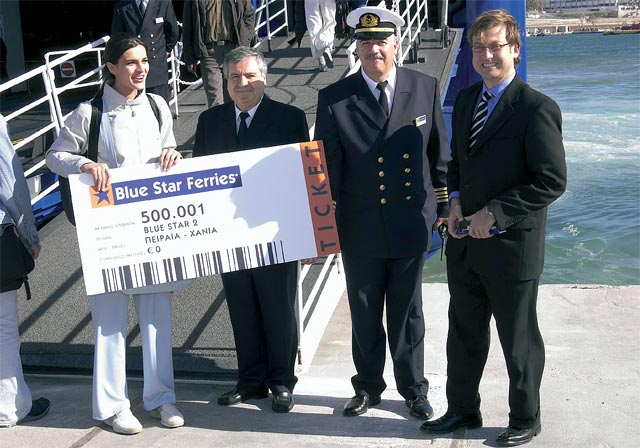 On hand to award the 500,001 passenger on Blue Star's Piraeus-Chania route were company executives, including Attica Enterprises' (Blue Star's major shareholder) chief executive officer, Alexander Panagopoulos (right).