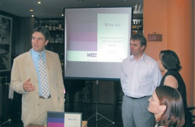 Leonidas Raftopoulos, airline marketing supervisor for Athens International Airport, and the general manager of Wizz Air, Jozsef Varadi, during the airline's Athens presentation.