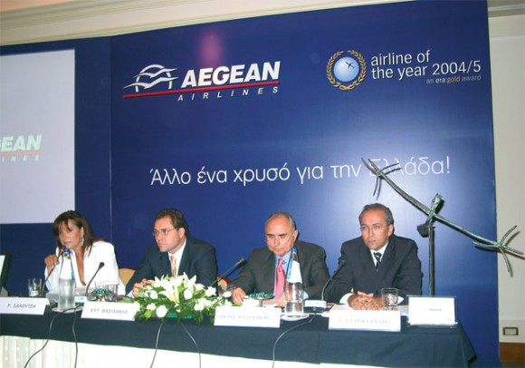 Theodoros Vassilakis, Aegean's president and managing director, flew to Vienna to accept the Airline of the Year Award during ERA's recent general assembly held there.
