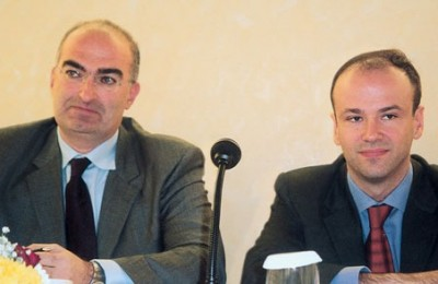 Georgos Tsakiris, the newly-elected president of the Attica Hoteliers' Association, with his new secretary general, Yiannis Retsos, during their first press call.