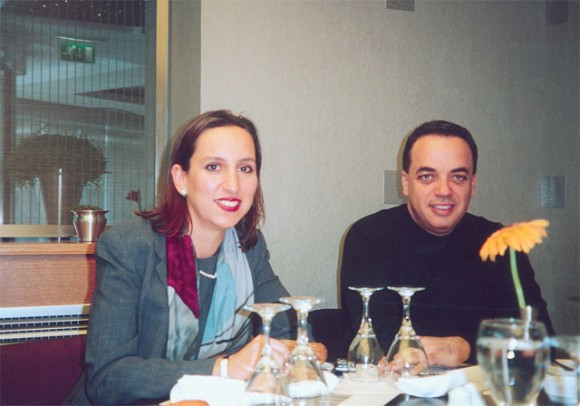 Elena Panagiotou, marketing and sales manager for The Athenian Callirhoe Exclusive Hotel, with communications specialist, Spiros Koufalis, during a recent working dinner for the press corps.
