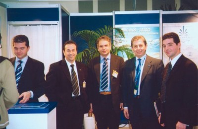 Two of the four Daktylides brothers, Vangelis and Marios (far left and far right), with guests Yiannis Missias of Sixt rent a car, Paris Deliniotis of LTU, and Stavros Filippelis of the Chandris group, during the recent ITB tourism fair in Berlin.