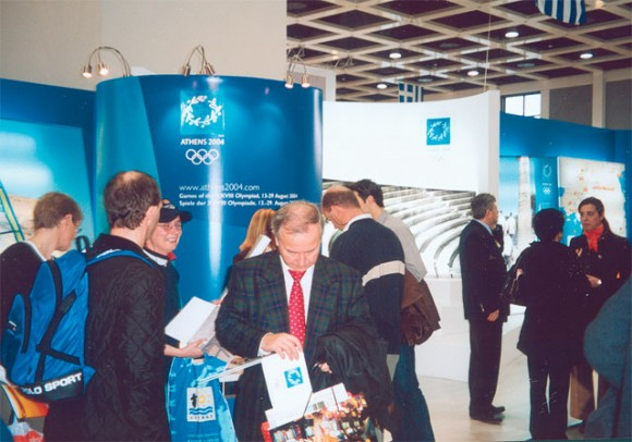 Athens 2004 stand, which fronted the Greek pavilion along with the Hellenic Tourism Organization's information stand, lured in the majority of visitors.