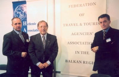 Branko Krasojevic, president of Yugoslav Travel Agencies Association (Serbia, Montenegro) with his executive board member, Arsenije Janevski, Radisav Stancovic, director of the Yugoslav Travel Agencies Association. All three took time to attend the signing ceremonies of the Balkan federation agreement and were on hand at the new federation's stand for most of Panorama.
