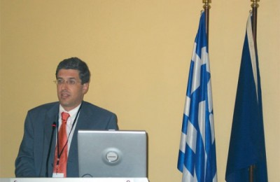 Nikolaos Giannis, president and chief executive officer of the Port of Piraeus, during a Athens Business Club 2004 seminar on nautical tourism.