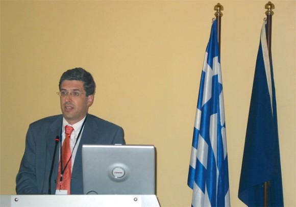Nikolaos Giannis, president and chief executive officer of the Port of Piraeus, during a Athens Business Club 2004 seminar on nautical tourism.