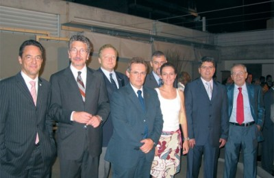 Representatives in Athens of the new nine-member SkyTeam global alliance: Claude Maire, Air France; Francesco Scandale, Alitalia; Boris Kopecny, CSA Czech Airlines; Panagis Vassilatos, KLM and Northwest; Zoe Skreki, Continental and behind her Thanasis Cavdas, Korean Air; Dimitris Karagioules, Delta; and Dinos Frantzeskakis, Aeromexico.