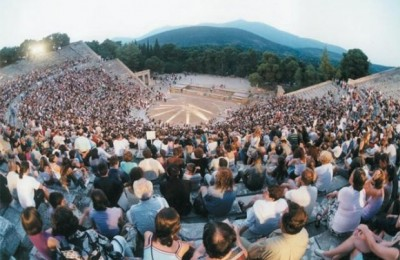 The ancient theater of Epidaurus in Peloponnese presents ancient Greek drama performances. It was built in the 4th century BC and seats 14,000.