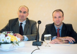Georgos Tsakiris, president of the Attica Hoteliers Association and Yiannis Retsos, the association's secretary general.