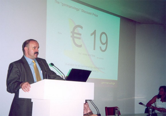Germanwings' corporate communications senior vice president, Heinz Joachim Schottes, presents the new no-frills carrier.
