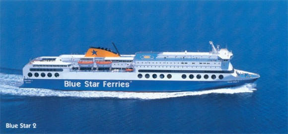 Blue Star 2 plies the route at a speed of 28 miles an hour and carries up to 1,900 passengers and 700 vehicles. Passengers can also enjoy the vessel's nightclub, bars or even go shopping in one of the many boutiques on board.