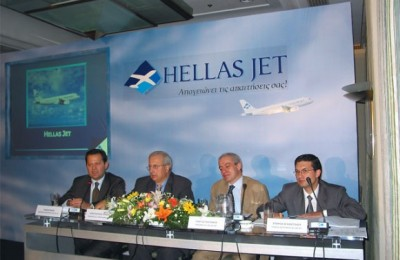 Tassos Mais, commercial director for Hellas Jet; Constandinos Loizides, president of Cyprus Airways; and Georgos Politakis and Stavros Agathithelou, representatives of the investing banks Omega and Alpha.