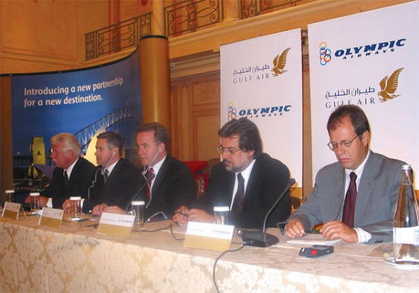 Gulf Air's Luke Medley, John Butler and James Hogan -the carrier's president and chief executive officer- with Olympic Airways' head, Dionysis Kalophonos and the airline's Costas Mavrikis.