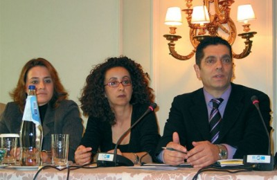 Anna Kogiou and Giorgos Karachristos of MACT S.A. fielding questions at last month's press conference.
