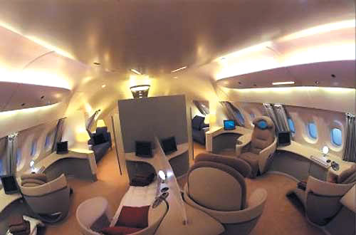 "The basic ""flying palace,"" as dubbed by some, boasts 555 seats in double-decker configuration, four aisles, a restaurant and a bar"