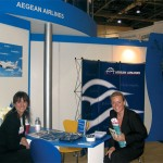 Aegean Airlines' public relations and marketing specialist, Roula Saloutsi, who said her main concern at WTM was to promote the company's charter possibilities, with her counterpart at the Atrium Palace Resort Hotel on Rodos, Cornelia Fendler.