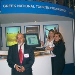 Stelios Polykratis, president of the Federation of Room and Apartment Rental Enterprises, with Hellenic Tourism Organization's London office specialists Dimitra Kolotoura and Katalina Alpe.