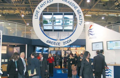 The entrance to Greece's WTM stand was continually crowded with visitors and although the pavilion this year was the best and most modern we've seen, some visitors said the could not understand the meaning of