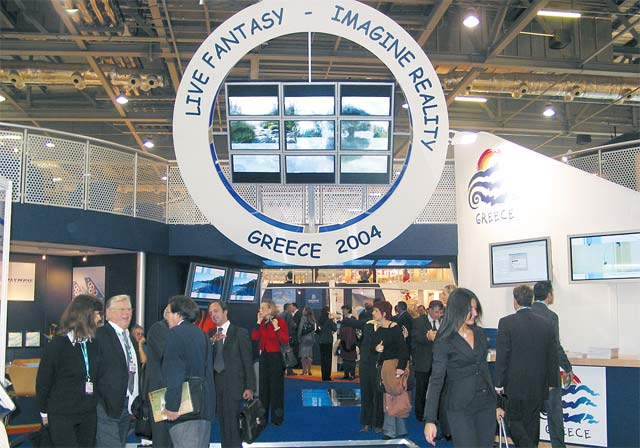 "The entrance to Greece's WTM stand was continually crowded with visitors and although the pavilion this year was the best and most modern we've seen, some visitors said the could not understand the meaning of ""live fantasy imagine reality"