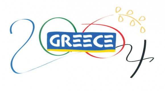 """Within the background of """"Greece"""" is 2004 in a design that shows the flowing of ribbons used by the Olympic gold medal winning Greek rhythmic team"""