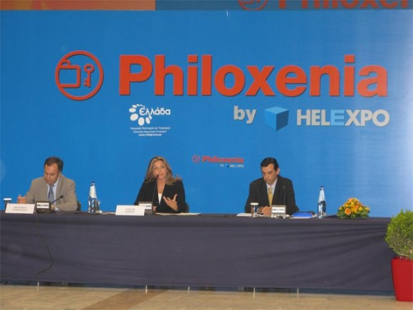 Helexpo's president Aristotelis Thomopoulos; Deputy Minister for Culture and Tourism Angela Gerekou; and coordinator Aris Mousouris at this year's press conference.