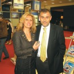 Chryssa Krassa, organizer of the Philoxenia exhibition, with Thanassis Cavdas, sales and advertising manager of GTP. Mrs. Krassa said visitor attendance increased through the electronic pre-registration system implemented this year by Helexpo.