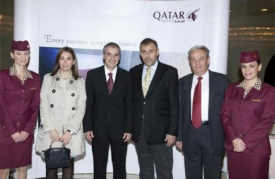 Sofia Iordanou (Qatar Airways), Fay Founta (Kronos Holidays), Alexandros Michalopoulos (Qatar Airways), Thanassis Cavdas (GTP), Takis Fountas (Kronos Holidays) and Fairouz Ampasi (Qatar Airways).