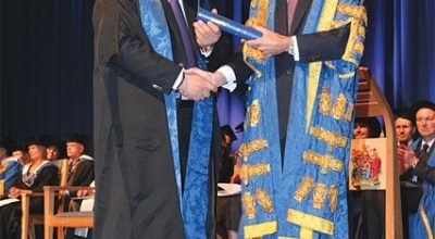 John Kent of Aquis Hotels and Resorts with Bournemouth University's Vice-Chancellor Professor Paul Curran.