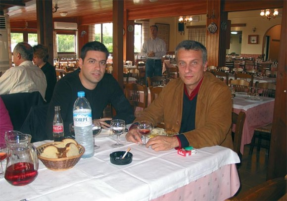 Vagonetto's project manager Socrates Tsamoutalis and the park's managing director, Leonidas Vamvakaris, during a dinner break after a recent travel agent familiarization tour of the park.
