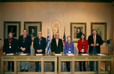 "Athens Mayors that attended the 1st Athens Mayors Meeting, organized by The World of Athens, signed a declaration on the establishment of the ""Athens of the World Network."""