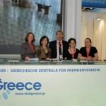 Director of the GNTO in Germany Ilias Galanos (center) at ITB Berlin 2010 with Irene Trutwig, Olympia Tsioulaki, Maria Zarnakoupi and Claudia Stohr Geranastassis.