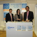 The Hellenic Association of Travel and Tourist Agencies' Vice President Ioannis Papadakis and representative Frini Alexiou with Ace Incentives' Business Development representative Konstantinos Zouganelis at the association's stand.